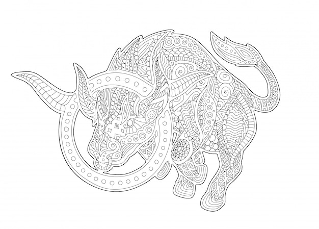 Coloring book page with zodiac symbol taurus
