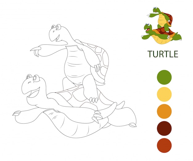 Coloring book pages for kids. cartoon tortoise
