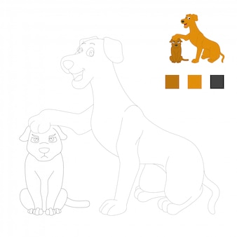Coloring book pages for kids. dogs cartoon