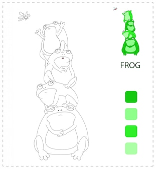 Coloring book pages for kids. frog cartoon