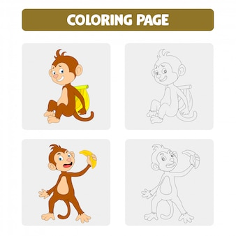 Coloring book pages for kids. monkey cartoon