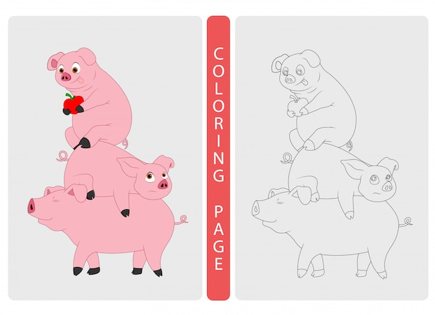Coloring book pages for kids. pigs cartoon