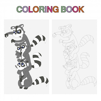 Coloring book pages for kids. raccoons cartoon