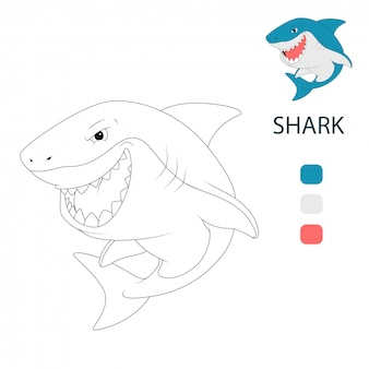 Coloring book pages for kids. shark cartoon