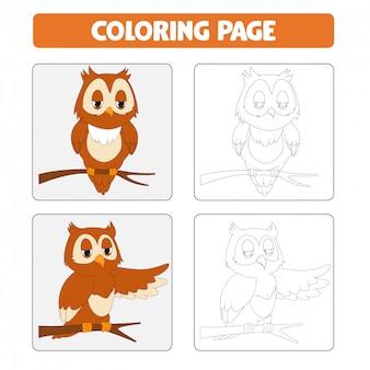 Раскраски страниц. мультфильм иллюстрация сова