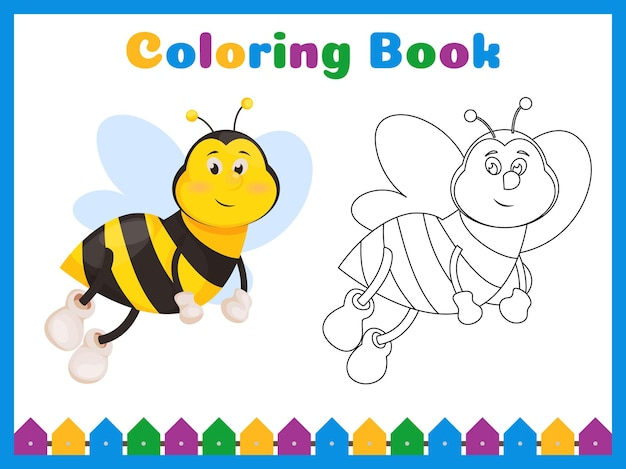 Coloring book for preschool kids with easy educational gaming level. Premium Vector