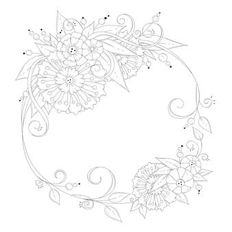 塗り絵の正方形のページ。花のフレーム。