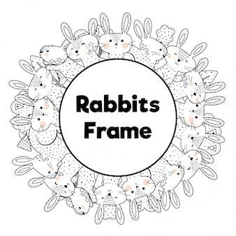 Coloring book style frame with funny rabbits