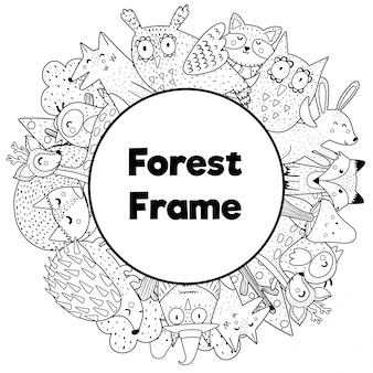 Coloring book style frame with place for your text