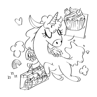Coloring book of super cute unicorn cupcakes shopping