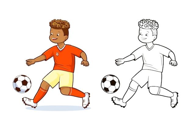 색칠하기 책, 십대 축구 선수 축구 공을 차기. 벡터, 평면 만화 스타일의 그림, 만화
