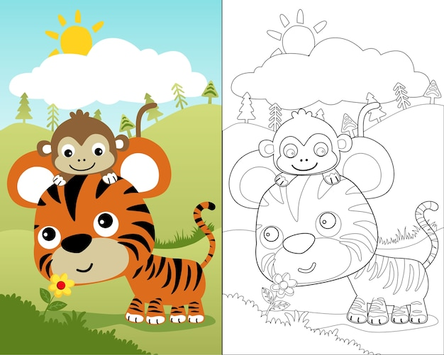 Coloring book vector of little tiger with monkey