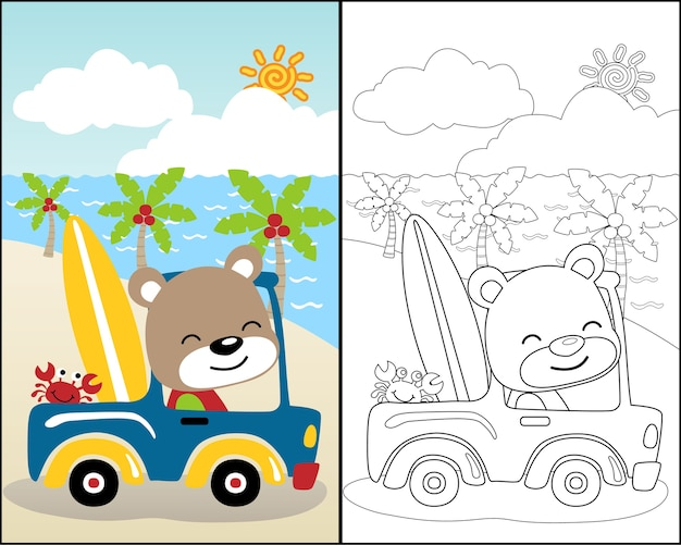 Coloring book vector with cute animals on car