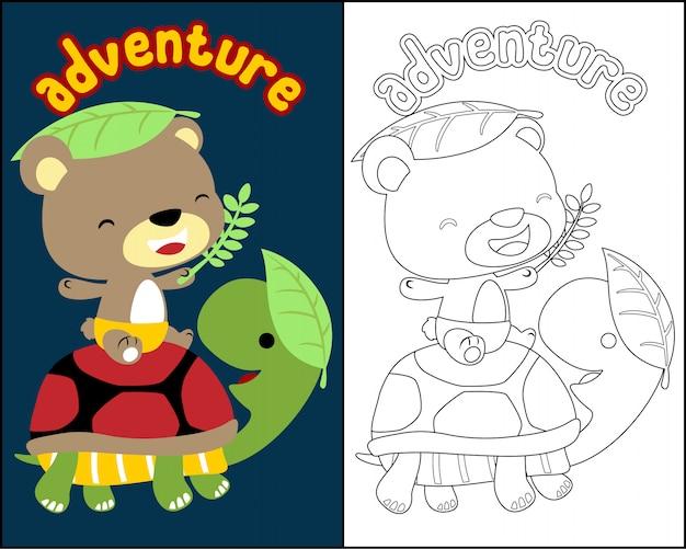 Coloring book vector with cute animals cartoon