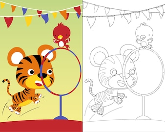 Coloring book vector with cute animals circus show