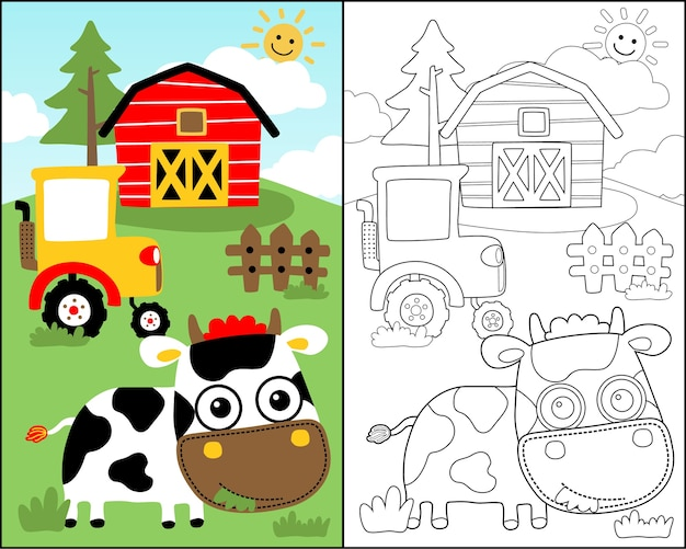 Coloring book vector with cute cow cartoon in the farm field