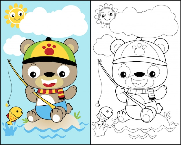 Coloring book vector with little bear