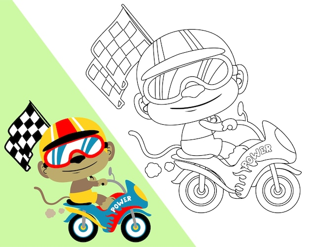 Coloring book vector with motor racer cartoon