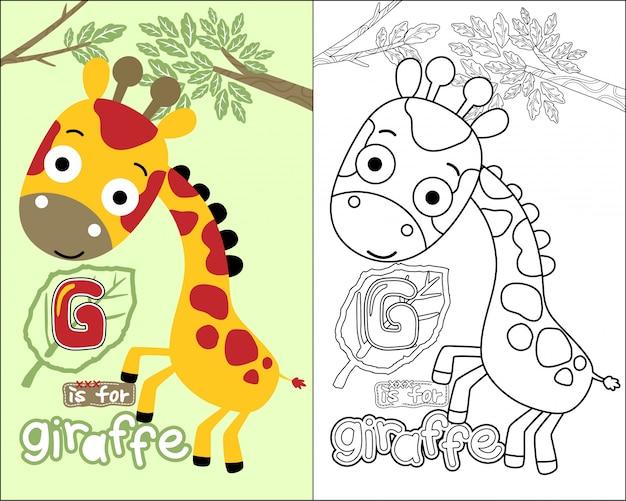 Coloring book vector with nice giraffe cartoon