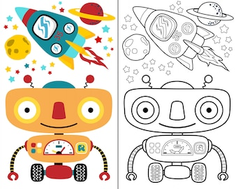 Coloring book vector with robot space cartoon