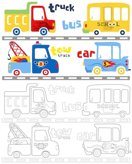 Coloring book vector with vehicles cartoon