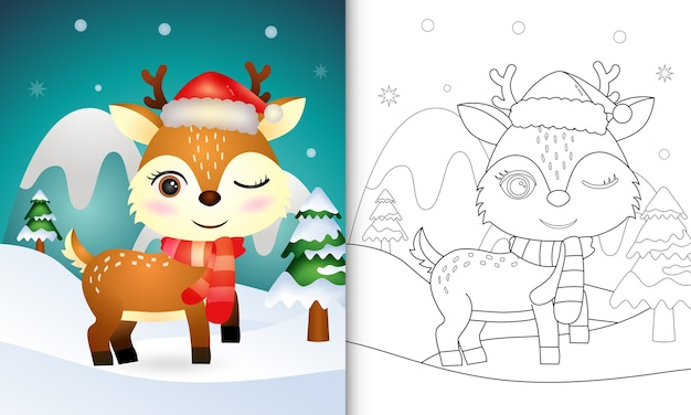 サンタの帽子とスカーフでかわいい鹿のクリスマスキャラクターの塗り絵