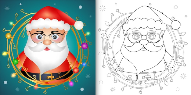 小枝飾りクリスマスのかわいいサンタクロースの塗り絵