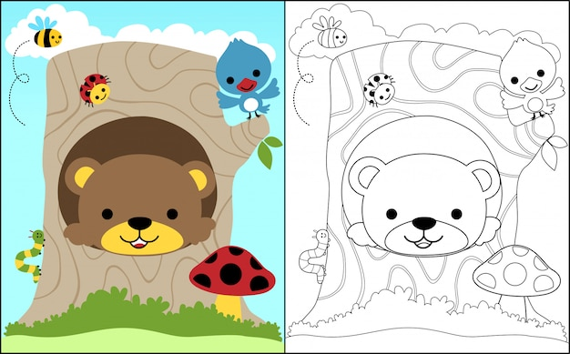 Coloring book with baby bear and little friends