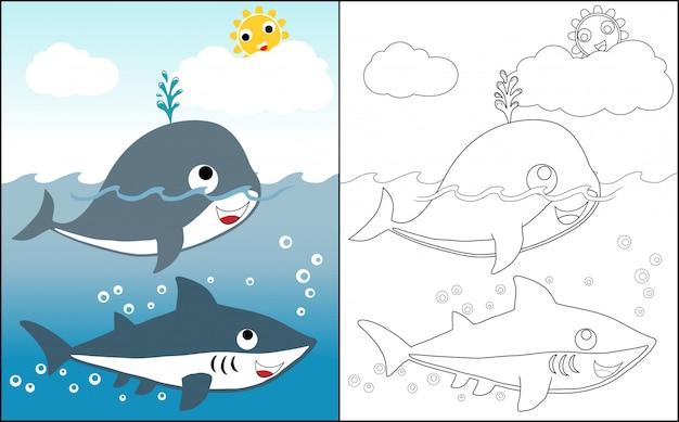 Coloring book with big fish at summer