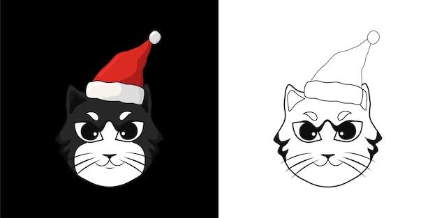 帽子サンタとクリスマスオブジェクト猫の塗り絵