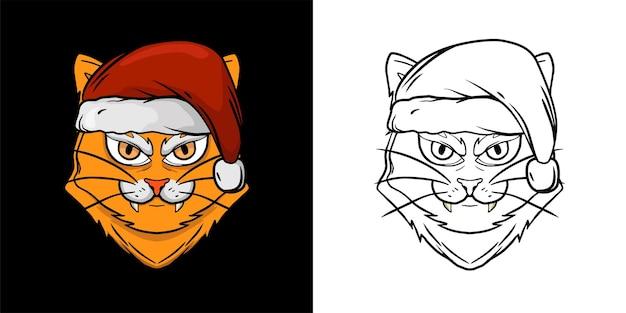 クリスマスオブジェクト猫の塗り絵