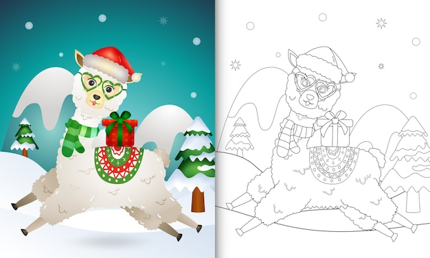 Coloring book with a cute alpaca christmas characters