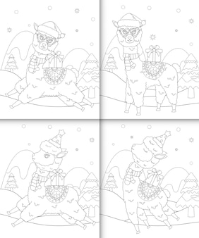Coloring book with cute alpaca christmas characters