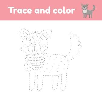 귀여운 동물 늑대와 색칠하기 책.