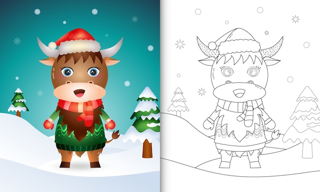 Coloring book with a cute buffalo christmas characters with a santa hat, jacket and scarf