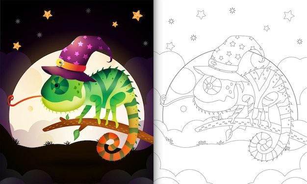 Coloring book with a cute cartoon halloween witch chameleon front the moon