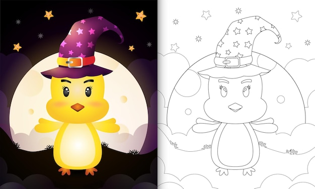 Coloring book with a cute cartoon halloween witch chick front the moon