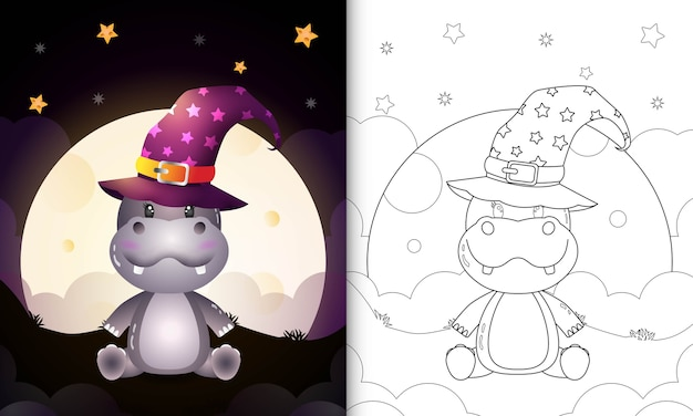 Coloring book with a cute cartoon halloween witch hippo front the moon