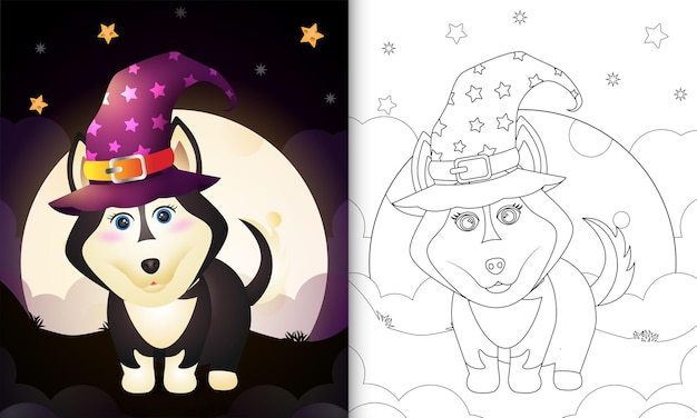 Coloring book with a cute cartoon halloween witch husky dog front the moon
