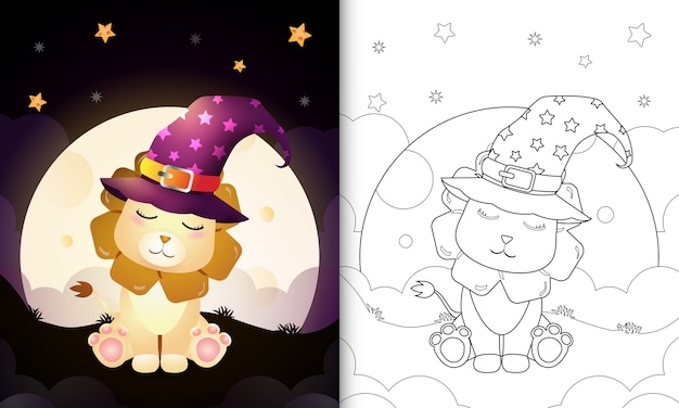 Coloring book with a cute cartoon halloween witch lion front the moon