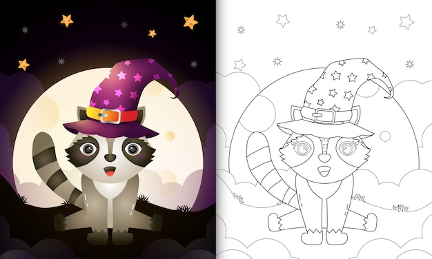Coloring book with a cute cartoon halloween witch raccoon front the moon