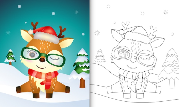 Coloring book with a cute deer christmas characters with using santa hat and scarf