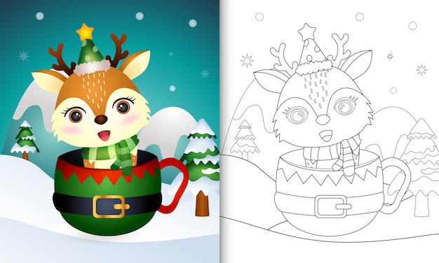 Coloring book with a cute deer christmas characters