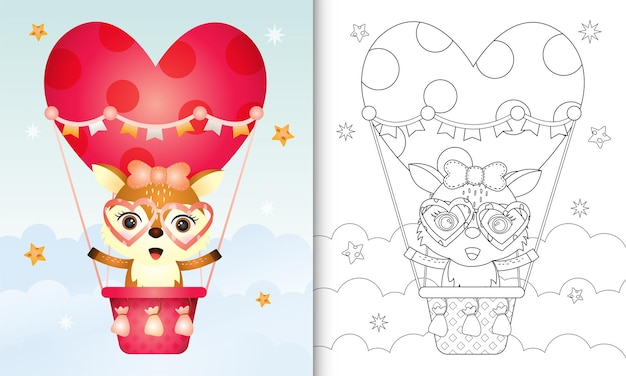Coloring book with a cute deer female on hot air balloon love themed valentine day