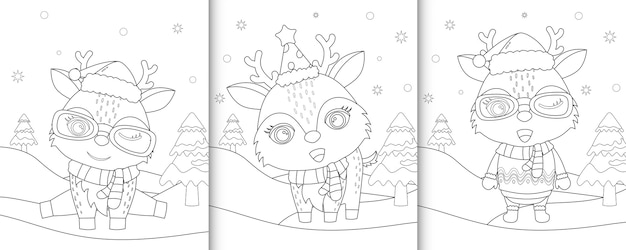 かわいい鹿の塗り絵