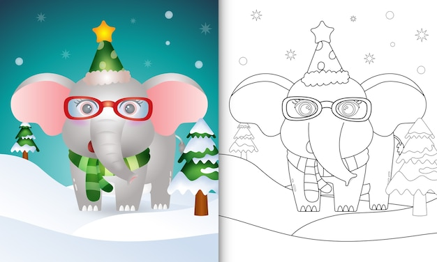 Coloring book with a cute elephant christmas characters collection with a hat and scarf