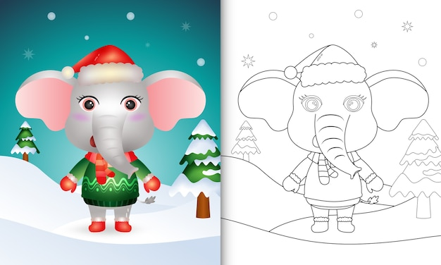 Coloring book with a cute elephant christmas characters with a santa hat, jacket and scarf