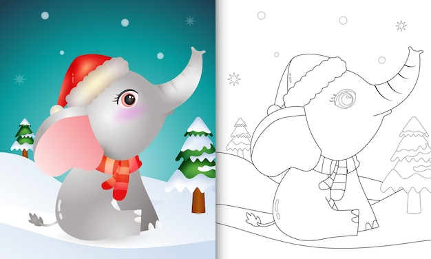 Coloring book with a cute elephant christmas characters with using santa hat and scarf