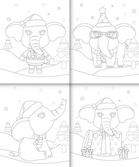 Coloring book with cute elephant christmas characters