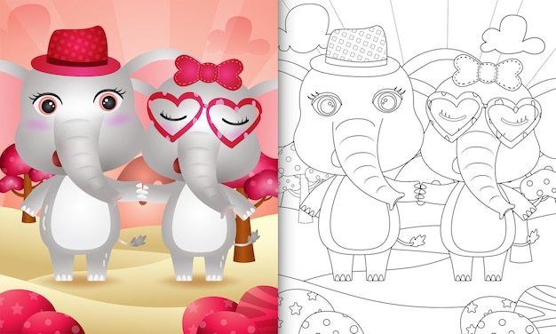 Coloring book with a cute elephant couple themed valentine day